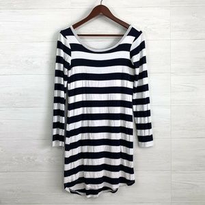 Splendid Navy White Striped Fitted Knit Mini Dress